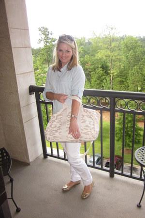 J Crew top - cigarette jeans joes jeans - leopard print Rebecca Taylor bag