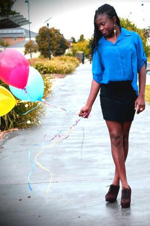 blue Factorie blouse - black supre skirt - tawny Forever 21 wedges