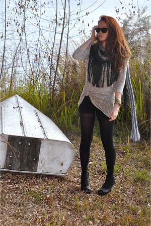 black Jeffrey Campbell wedges - tan Urban Outfitters sweater - black Forever 21