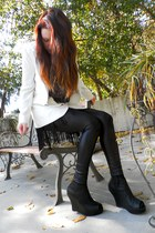black Liquid Leg leggings - black Jeffrey Campbell wedges - white calzatura blaz