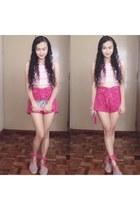 hot pink lace shorts - bubble gum midriff top - hot pink espadrille sandals
