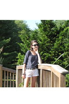 white Old Navy shorts - blue Old Navy top - black Moms old belt belt - silver me