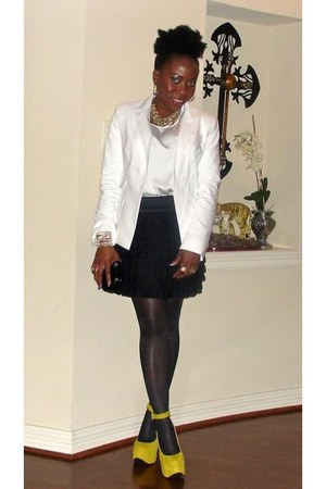 yellow Luichiny shoes - white Express blazer - black H&M tights