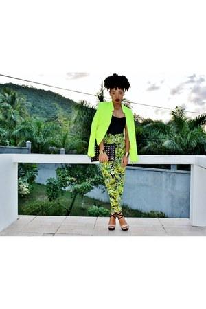 black gold studs asos bag - chartreuse neon tweed Zara blazer