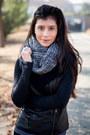 Black-leather-michael-stars-jacket-charcoal-gray-wool-michael-stars-scarf