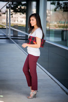 plaid Sole Society bag - maroon burgundy Loft pants