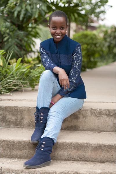 blue lace collier blazer