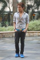 white paisley print memo top - black Terranova pants - blue Topman belt