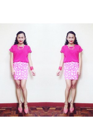 bubble gum Accessorize shoes - hot pink top - hot pink skirt - hot pink necklace