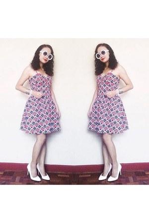 white shoes - hot pink dress - white sunglasses