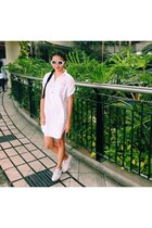 white shoes - white sunglasses - white thrifted blouse