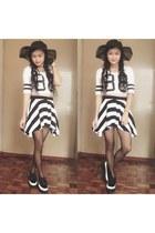 black creapers shoes - black hat - black stripes skirt - white jersey top
