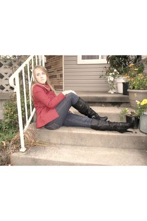 red Tracy Evans Limited coat - Aeropostale pants - black Kaya boots