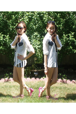 black striped lycra DIY skirt - white DIY blouse - hot pink Bamboo flats