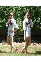black striped lycra DIY skirt - white DIY blouse - hot pink Bamboo flats