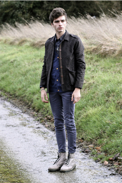 jack & jones cardigan - Dr Martens boots - JBrand jeans - Dries Van Noten shirt