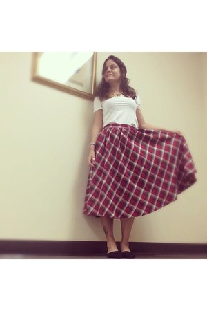 circle skirt skirt - black pointy flats shoes - white H&M t-shirt