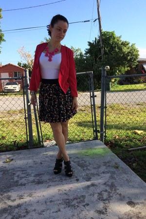 pink H&M necklace - floral print Forever 21 skirt - pink n pepper DIY sandals