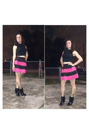 black black and mesh Kelly and Katie boots - black and pink Forever 21 skirt
