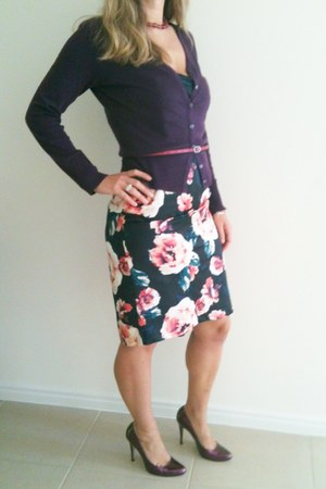 crimson Hot Options dress - purple SES cardigan - plum patent zoe whittner heels