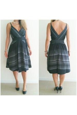 striped taffeta basque dress - black patent diana ferarri heels