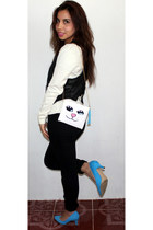 Muuah bag - H&M heels - paris blue pants - Forever 21 vest