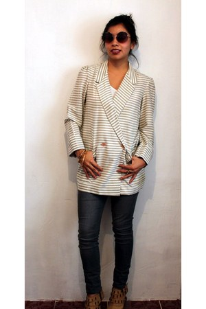 tan stripes vintage blazer - gray Paris Blues jeans