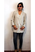 tan stripes vintage blazer - gray Paris Blues jeans
