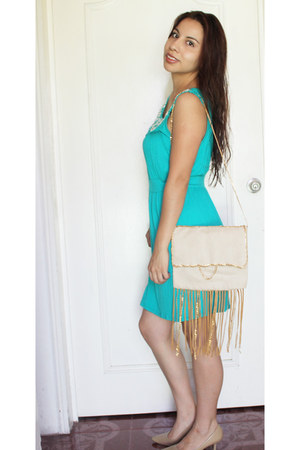 neutral fringe DIY bag - turquoise blue cut out One Clothing dress