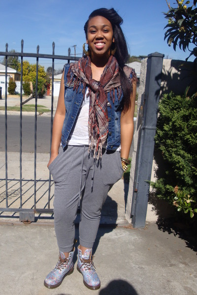 brown Forever 21 scarf - sky blue Dr Martens boots - white tank top