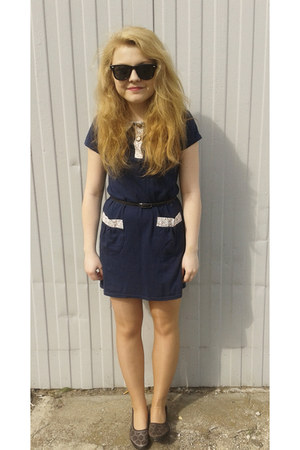trift shop dress - rayban sunglasses - Target flats - H&M belt