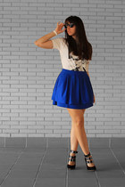 blue H&M skirt - black Bimba & Lola shoes - david bowie Pull & Bear t-shirt