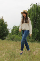 ivory Fridays Project shirt - navy Mango jeans - vintage hat