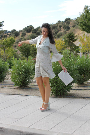 white pearls Zara bag - light blue khadi silk Sugar Lane dress