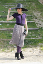 heather gray H&M skirt - black Zara shoes - black Zara hat - black vintage purse
