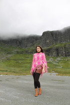 hot pink from Colaba cape - burnt orange leather Zara boots