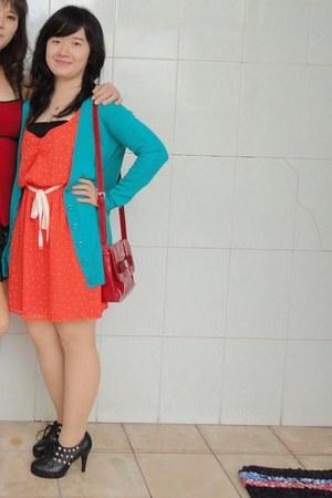 orange Zara dress - red Harrods bag - turquoise blue Forever21 cardigan