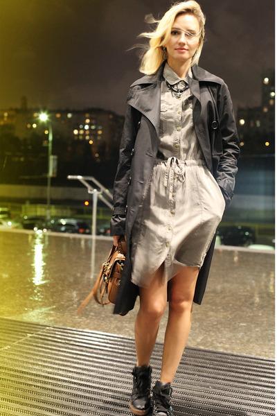 dark khaki littlebig dress - black Elisabetta Franchi coat - brown Mulberry bag