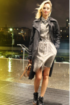 dark khaki littlebig dress - black Elisabetta Franchi coat - brown Mulberry bag