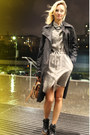Dark-khaki-littlebig-dress-black-elisabetta-franchi-coat-brown-mulberry-bag
