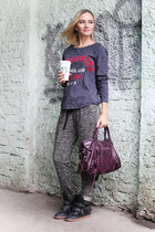 deep purple balenciaga bag - gray Oysho pants - black Bershka sneakers