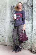 deep purple balenciaga bag - gray Oysho pants - black Bershka sneakers