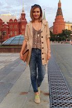 camel Ichi jacket - navy pull&bear jeans - brown marmalato bag