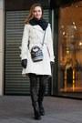 Black-zara-boots-ivory-celine-coat-black-louis-vuitton-scarf