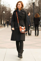 carrot orange Accessorize bag - black Zara boots - black Celine B coat