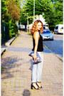 Light-blue-true-religion-jeans-silver-metallic-karl-lagerfeld-purse