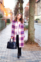 plaid Zara coat - navy Prada purse - white comma blouse