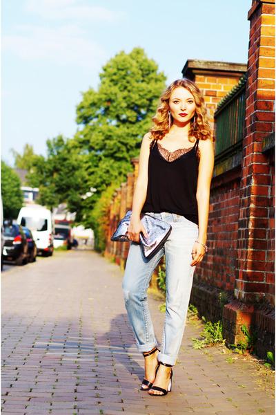 black H&M top - light blue True Religion jeans