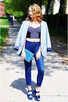blue high waisted Closed jeans - light blue Esprit blazer