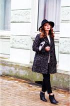 black Mango boots - charcoal gray Burberry coat - black Stefanel hat